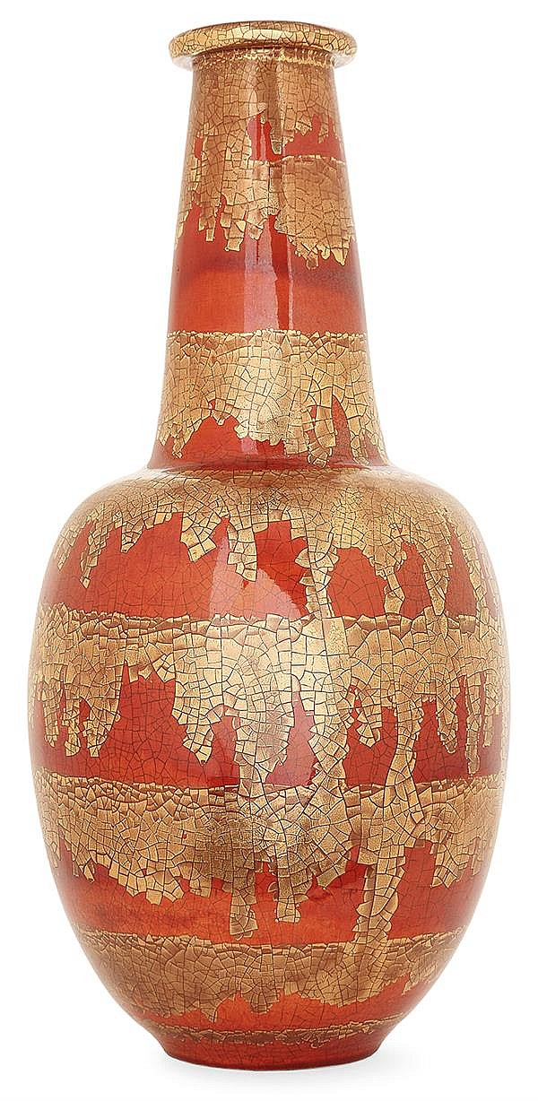 Raoul LACHENAL (1885-1956) A baluster enamelled earthenware vase. Carved signature. Height. 16 in.