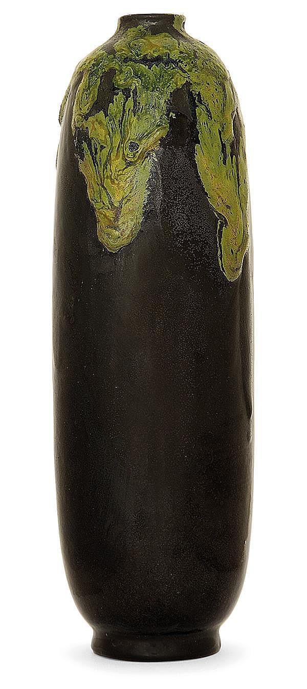 RAOUL LACHENAL (1885-1956) A stoneware eggplant shaped vase. Enamelled signature. (Few enamel lacks). Height. 7 1/2 in.