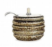 BODE WILLUMSEN (1895-1989) & HANS HANSEN (Orfèvre) A stoneware jam pot with silver lid. Silversmith and hallmarks. Total height. 4 1/8