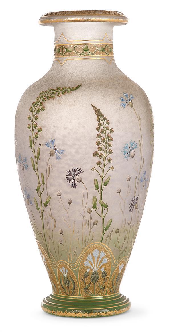 Daum nancy vase balustre circa 1900 en verre jasp pommel for Decoration vase en verre