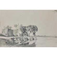 Attribué à Prosper MARILHAT (Vertaizon 1811- Paris 1847) Vue animée des bords du Nil