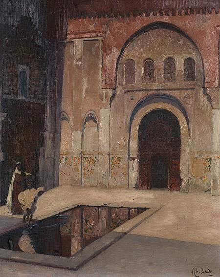 FRANÇOIS CHARLES BAUDE (1880-1953) Cour de maison arabe Huile sur toile signée en bas à droite, titrée au dos et numérotée299
