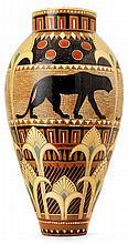 Laurent BOUVIER (1840-1901) Spectaculaire vase ovoïde élancé en terre vernissée à col cylindrique, décor finement incisé et scarifié...