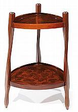 ƒLouis MAJORELLE (1859-1926) Élégante table d'appoint à structure tronconique triangulée, en acajou, présentant un piétement végétal...