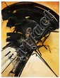Gianni Bertini (né en 1922) Composition, 1957 Encre et gouache sur papier marouflé sur panneau Signée et datée 57 en bas à gauche  D...