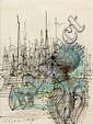 Jean Carzou (1907-2000) L'homme masqué, 1978 Encre et pastel sur papier Signé et daté 78 en bas à gauche Ink and pastel on paper Sig...