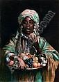 GIUSEPPE SIGNORINI (1847-1932) ÉCOLE ITALIENNE LA MARCHANDE DE FRUITS Aquarelle gouachée sur toile fine marouflée sur carton, si..., Giuseppe Signorini, Click for value