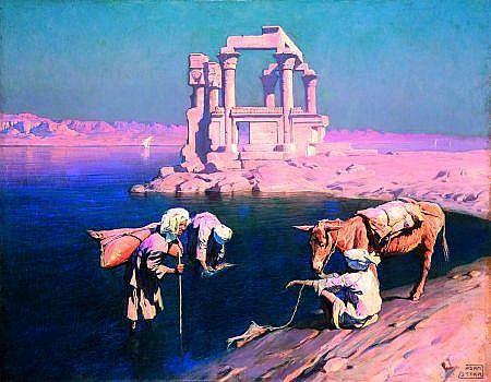 ADAM STYKA (1890-1959) PORTEURS D''EAU SUR LES BORDS DU NIL EN HAUTE-ÉGYPTE Huile sur toile, signée en bas à gauche. 73 x 92 cm