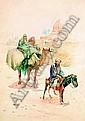 ALPHONSE BIRCK (1859-1942) DÉPLACEMENT D''UNE FAMILLE DE NOMADES Aquarelle et gouache, signée en bas à gauche. A vue : 72 x 51 ..., Alphonse Birck, Click for value