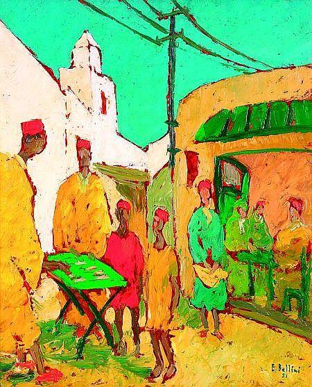 EMMANUEL BELLINI (1904-1989) ÉCOLE MONÉGASQUE MARCHAND DE CIGARETTES (KAIROUAN) Huile sur Isorel, signée et datée (19)51 en b...