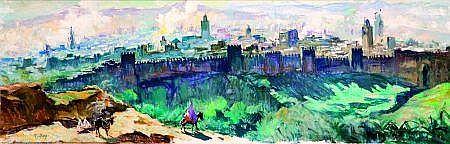 HENRY PONTOY (1888-1968) VUE PANORAMIQUE DE FÈS Huile sur toile, signée en bas à gauche. 40,5 x 119,5 cm