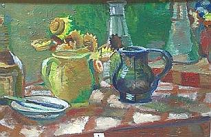 OUGHTRED BUCHANAN JUG WITH SUN FLOWERS SIGNED FRAMED OIL PAINTING 47CM X 68CM