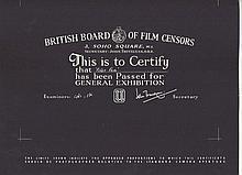 Peter Pan 1950's British Board Of Film Censors Certificate