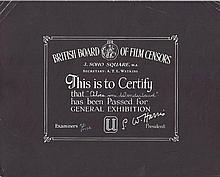 Alice In Wonderland 1940's British Board Of Film Censors Certificate
