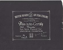 Pinocchio. 1940's British Board Of Film Censors Certificate