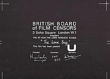 The Love Bug 1960's British Board Of Film Censors Certificate