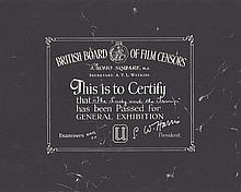 Lady and the Tramp 1960's British Board Of Film Censors Certificate
