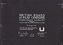 The Jungle Book British Board Of Film Censors Certificate