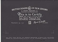The Prince and the Pauper. British Board Of Film Censors Certificate