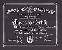 A rated Snow White and the Seven Dwarfs. The Unique BBFC Certificate