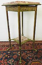 BRASS MARBLE TOP STAND