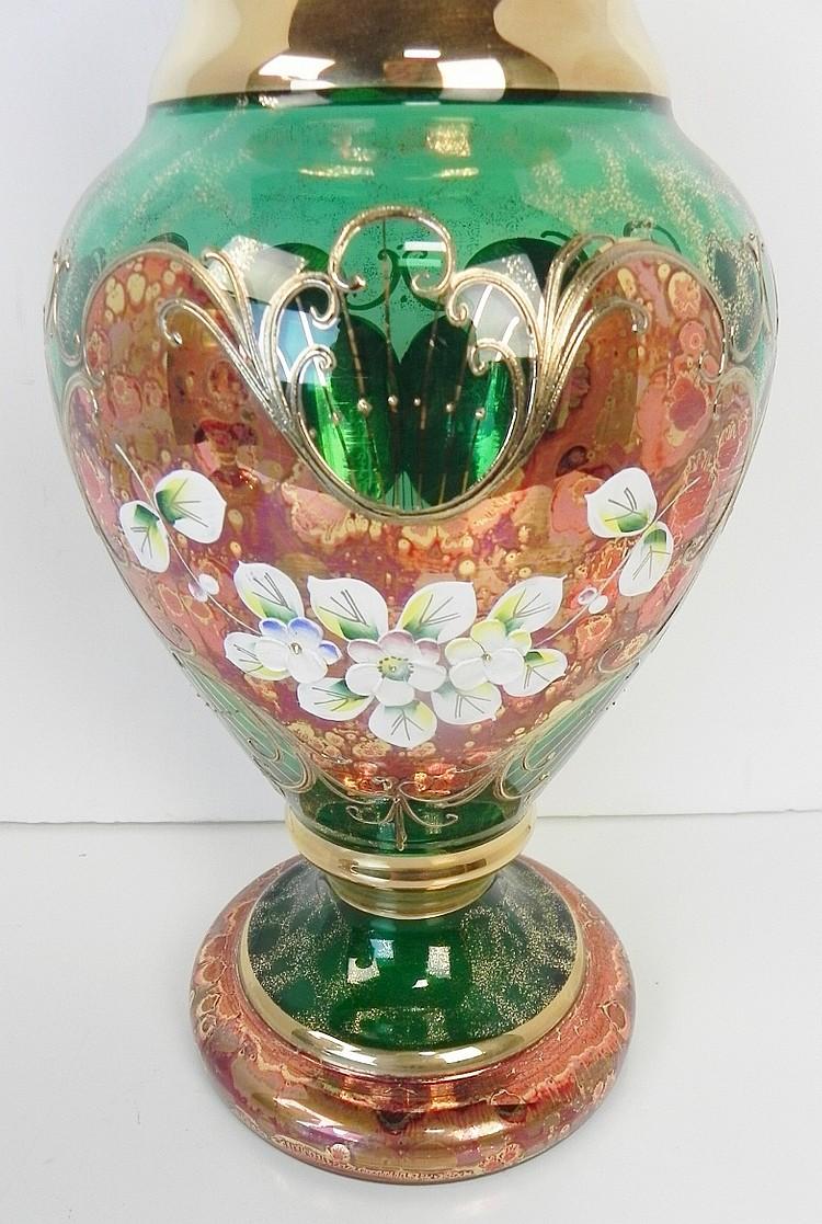 green venetian style glass vase. Black Bedroom Furniture Sets. Home Design Ideas