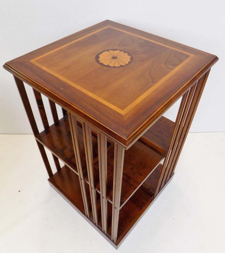 Pair of revolving inlaid top end tables for Revolving end table