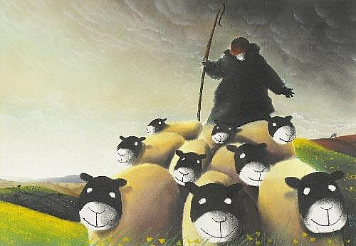 Mackenzie Thorpe (b.1956) Shepherd and sheep in a
