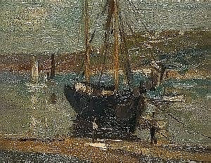 John Anthony Park FISHING BOATS IN A HARBOUR] Signed, oil on board, {21cm by 25cm} {See illustration}