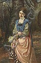 Edward Charles Barnes (fl.1856-1882) Girl holding, Edward Charles Barnes, Click for value
