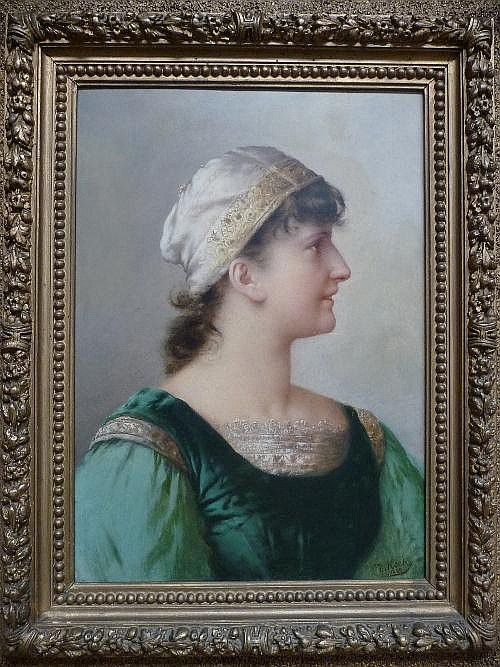 Daniel Hock (1858-1934) Austrian Portrait of a