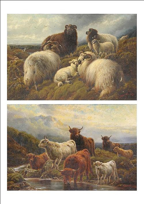 Robert Watson (1865-1916) Ewes and Lambs on a