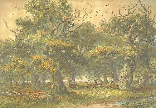 John Steeple R.I., R.B.S.A. (fl.1846-d.1887) Stags Amongst Ancient Oak Trees in a Deer Park] Signed and dated