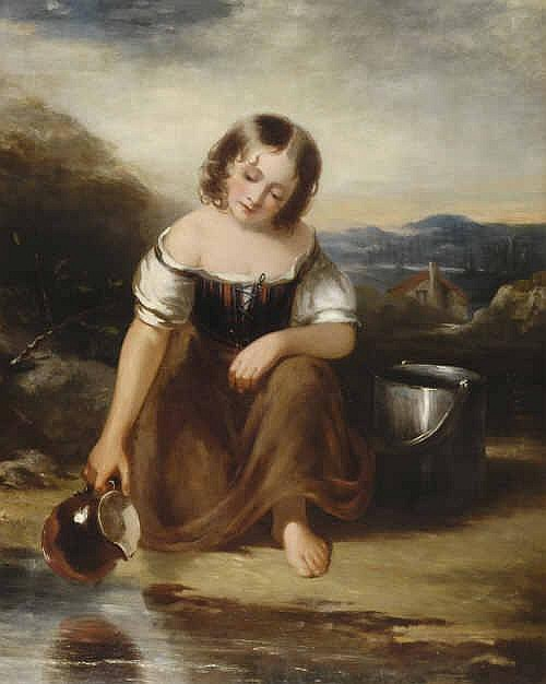 William Bowness (1809-1867) Country Girl Kneeling
