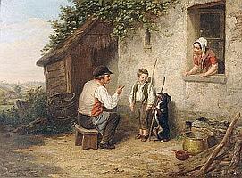 """Henri Joseph Dillens (1812-1872) Belgian """"Learning"""