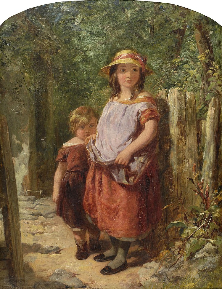 James Curnock (1812-c.1869) Two Children standing