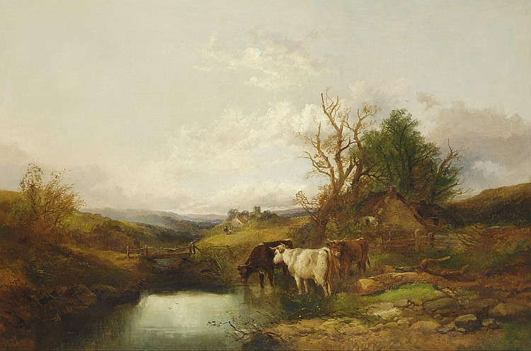 Joseph Horlor (fl.1834-1866) River Landscape, with