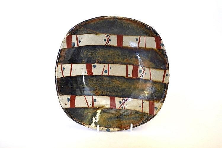 John Maltby (b.1936): A Stoneware Dish, painted