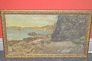 Frederick (Fred) Balshaw (ex.1888-1914) Coastal Scene with a Fishing Boat Anchored in an Estuary, Rocks and Cliffs in the Foreground Signed, oil on canvas, 46cm by 81cm (18in by 32in) *There was also a Florence E. Balshaw who exhibited between 1912