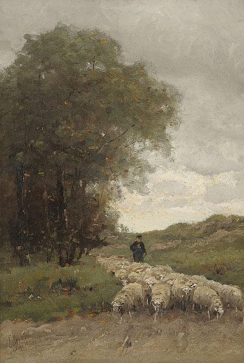 Elias Stark (1849-1933) Drover and sheep on a lane