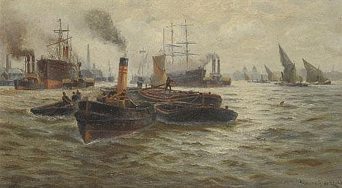 Charles John de Lacy (1856-1929) Barges and other