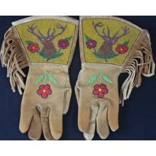 Pictorial Deer Elk Beaded Gauntlets Native American Indian Cowboy Western Beadwork