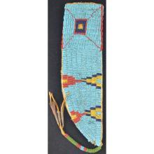 Plains Indian Beaded Knife Sheath Blue Background