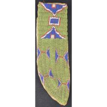 Rare Green Background Beaded Indian Knife Sheath