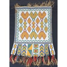Native American early beaded panel bandolier bag