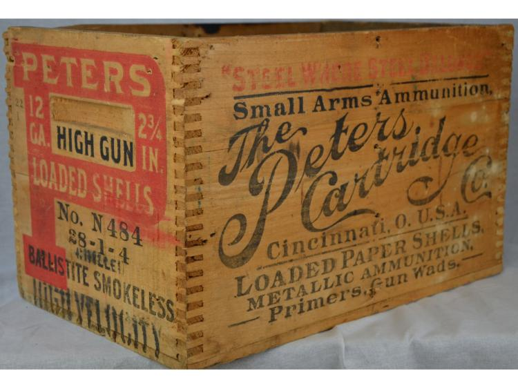 PETERS GUN SHELL CRATE WOOD BOX MARKED HIGH GUN & HIGH VELOCITY SHOREBIRD
