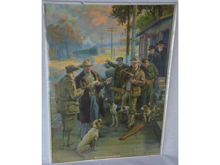 SPORTSMENS CREDENTIALS WESTERN ADVERTISING POSTER GUN AMMUNITION HUNTING DOGS GAME RABBITS QUAIL