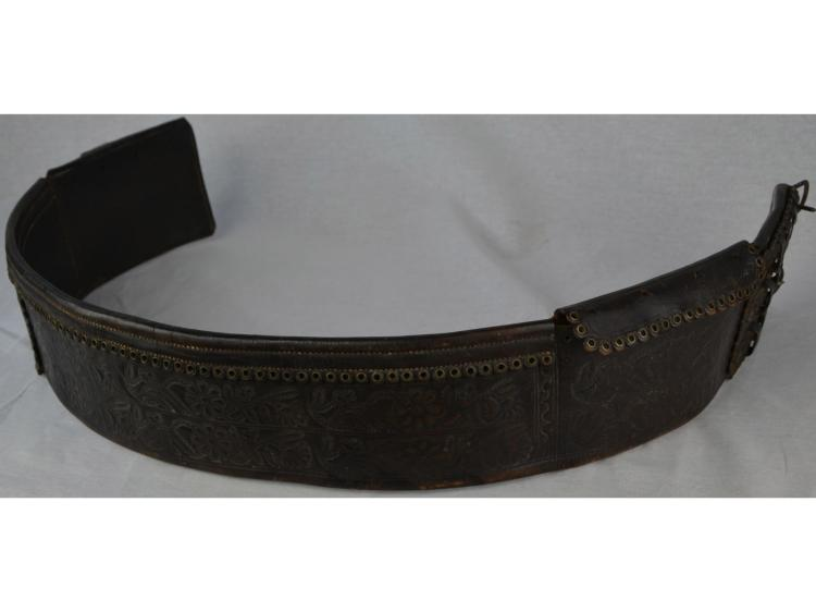 TOOLED & STICHED 1924 COWBOY LEATHER MONEY BELT