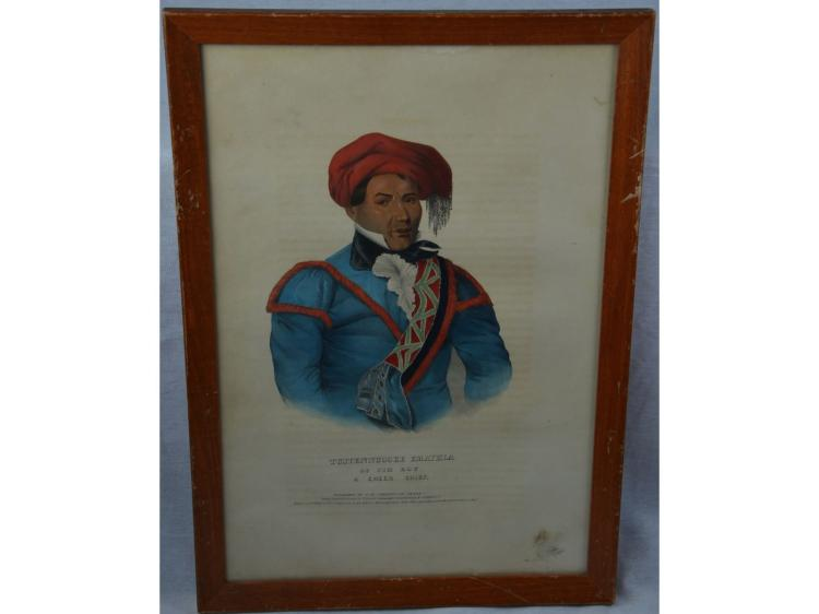 ORIGINAL NATIVE AMERICAN HAND COLORED LITHO TUSTENUGGEE EMATHLA, INDIAN CREEK CHIEF MCKINNEY HALL LITHOGRAPH FIRST HALF 19TH CENTURY