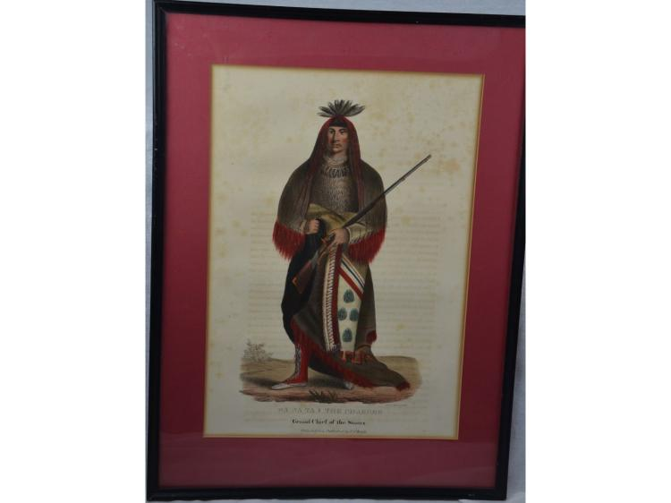 1838 ORIGINAL WANATA SIOUX CHIEF MCKINNEY & HALL HAND COLORED LITHOGRAPH NATIVE AMERICAN INDIAN